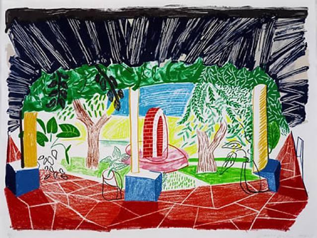 """View of Hotel Well I""  1984-1985  David Hockney"
