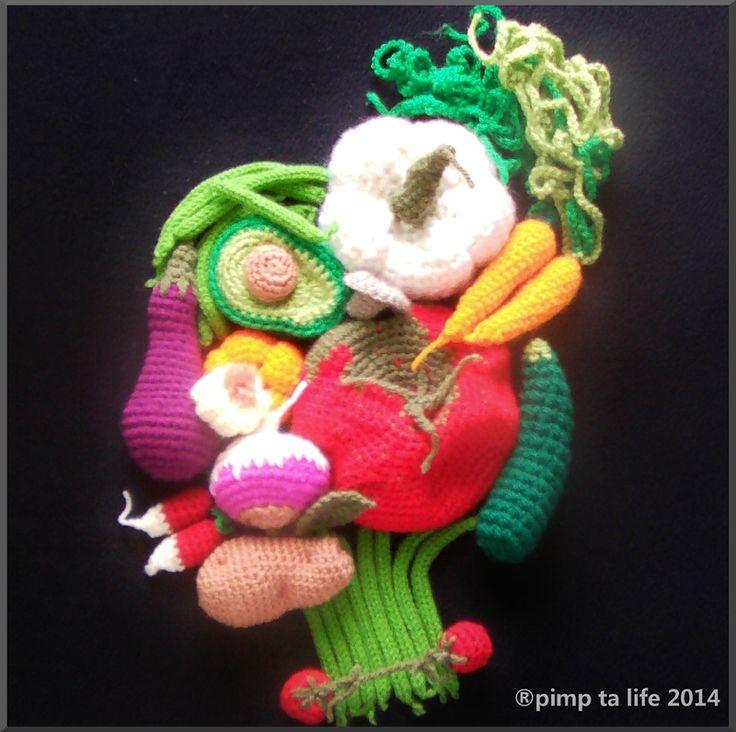 The serial crocheteuses n°240 : un légume de saison ......façon Giuseppe Arcimboldo #crochet #amigurumi vegetables by: pimp ta life 2014