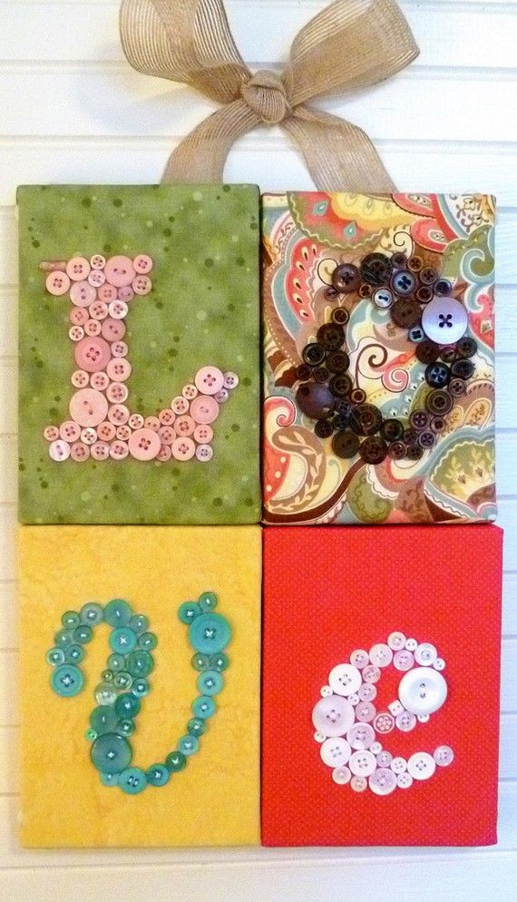 love: Crafts Ideas, Wall Hanging, Buttons Crafts, Diy Crafts, Buttons Letters, Buttons Art, Buttons Projects, Diy Gifts, Crafts Diy