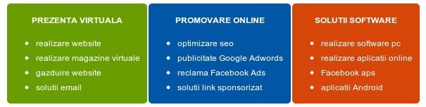 Servicii oferite: realizare website, creare magazin online, optimizare seo, promovare online si dezvoltare software.