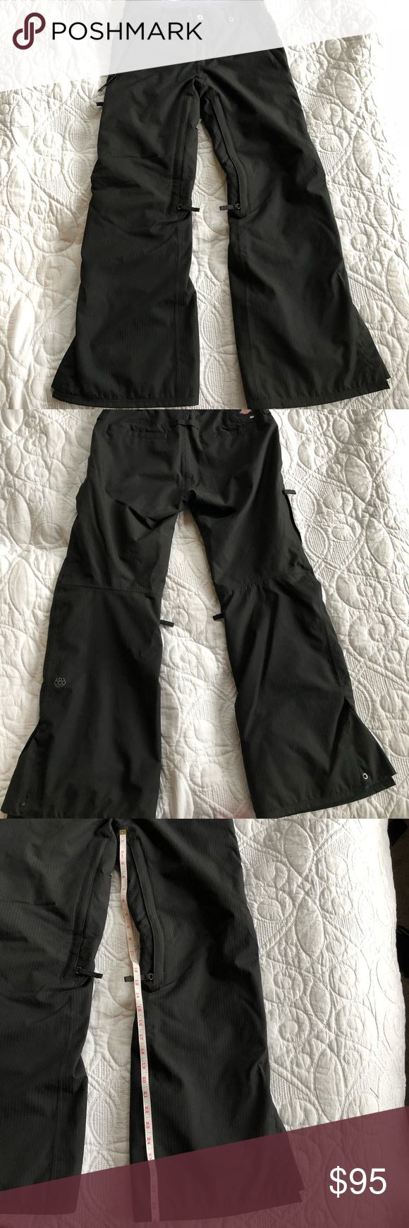 686 snowboarding pants black w/ dark black stripes 686 / dickies snowboarding pants.  Like new. Xs  in women's. Does have a tiny mark at bottom of the pant leg (see pics) measurements are in pics! There is a matching jacket that will go great with it! Bundle it and I will send you a private non obligated offer 👍🏻😆 686 Pants