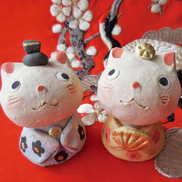 207・ 瀬戸焼 ひろ陶房 猫ひな祭り 雛人形 ねこ 陶器製 お雛様 日本製 | tinis