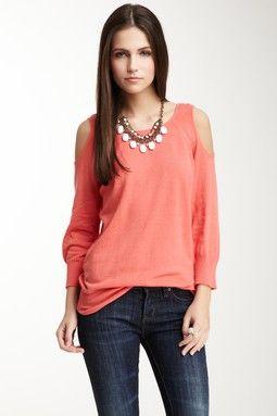 3/4 Length Sleeve Open Shoulder Top
