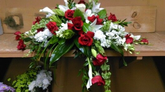 44 best my work at michaels flowers images on pinterest michael o red and white casket spray mightylinksfo