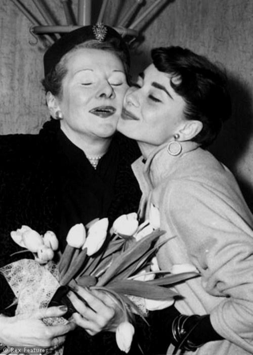 Audrey Hepburn with her mother.