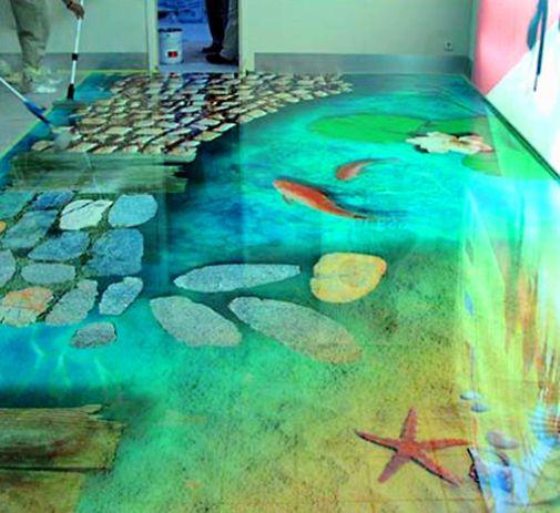 Natural Floor Under Water Tile Design