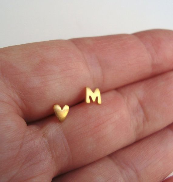 Golden Heart Earring Initial Earring ONE PAIR Heart Stud Initial Stud Extra Tiny 24k Gold Plated Sterling Silver Studs Personalized Earring on Etsy, $19.00
