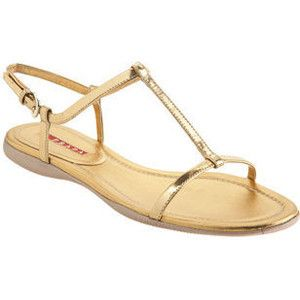 T strap sandals with flat sole