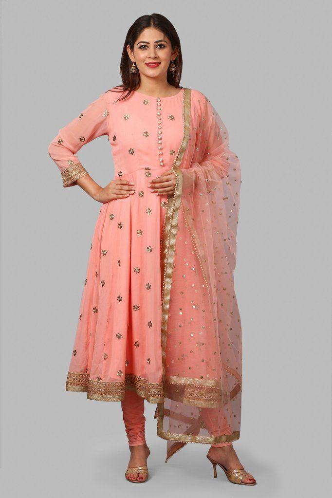 Indian Ethnic Women Slawar Kameez /& Duppta Rajasthani Flared Kurta Party Dress