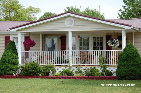 Mobile Home Porch With Front Porch And White Railings Mobile