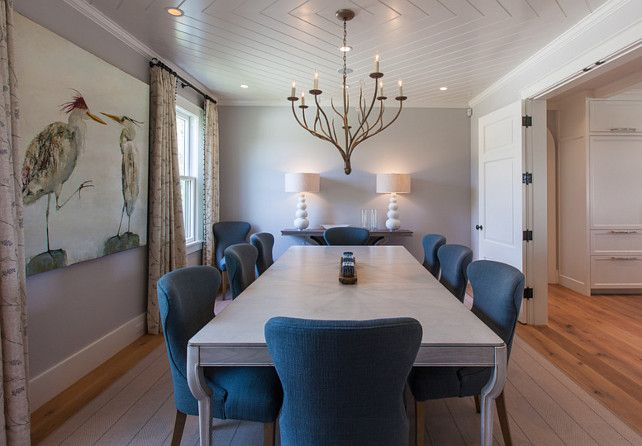 Dining Room. Dining Room with a Diamond Ceiling Pattern. #DiningRoom #CeilingPattern