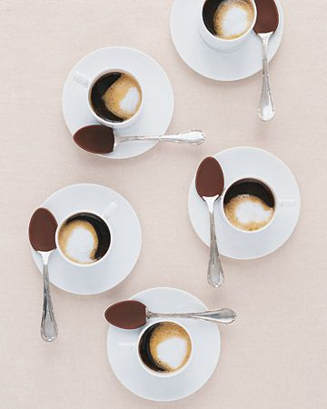 espresso with chocolate spoons: Desserts, Covers Spoons, Chocolates Covers, Chocolate Covered, Chocolates Spoons, Martha Stewart, Dinners Parties, Hot Chocolates, Chocolates Dips