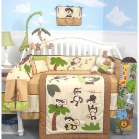 SoHo Curious Monkey Baby Crib Nursery Bedding Set 13 pcs included Diaper Bag with Changing Pad & Bottle Case, (crib bedding sets, bedding sets, baby bedding, crib bedding, jungle, nojo, nursery)