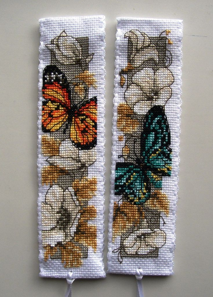 Vervaco cross stitch bookmarks-orange and green butterflies