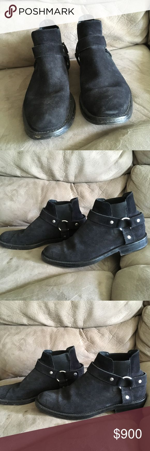 Saint Laurent paris black suede harness boot Worn lots, but tons of life left. Size 45 Recently got sole guards added on. Harness boots similar to the SLP wyatts. Made in Spain, before they switched to Italy again. Sold as is. Open to offers.  All sales final. No exceptions Not in a major rush to sell. Only if the price is right. Saint Laurent Shoes Boots