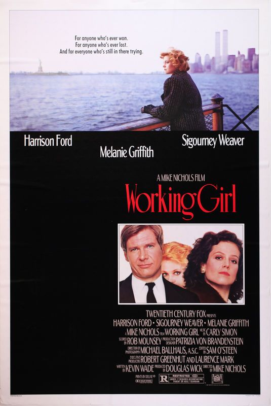 Working Girl Movie Poster starring Melanie Griffith, Harrison Ford and Sigourney Weaver. #ebay #vintage #movieposter