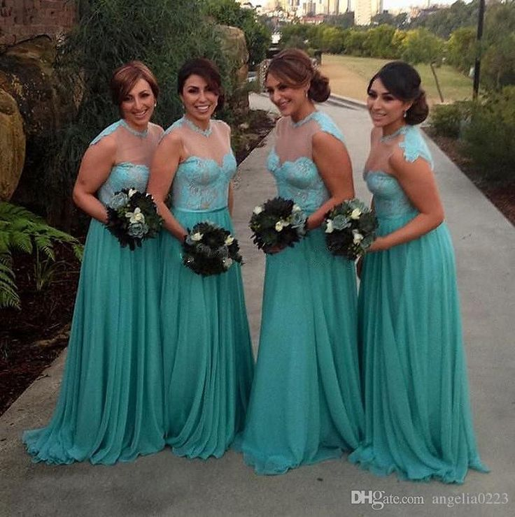 2016 Modest Long Bridesmaid Dresses Blue Chiffon Lace Floor Length Sheer Neck Cheap Wedding Party Gowns For Women Custom Made Petite Bridesmaid Dresses Sage Green Bridesmaid Dress From Angelia0223, $156.03| Dhgate.Com