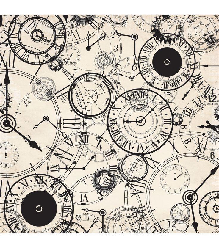 Kaisercraft Time Machine 12''x12'' Spot Varnish Cardstock -Hour