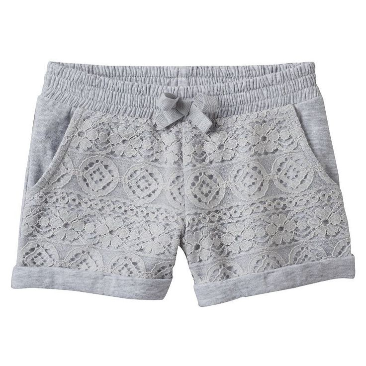 Toddler Girl Jumping Beans® Lace-Front Slubbed Shorts, Size: 4T, Light Grey #Toddlershortsgirl