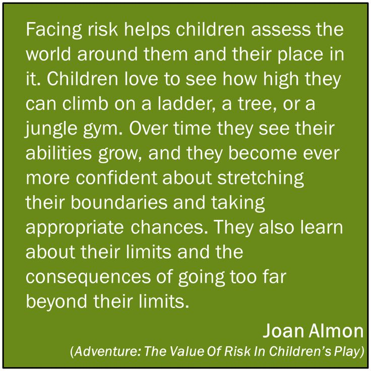 Taking risks helps children assess the world around them! YES YES YES!