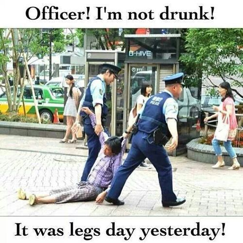 Fitness Humor #12: Officer, I'm not drunk. It was leg day yesterday!