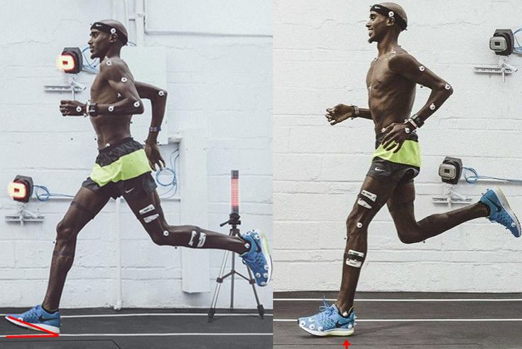 Mo Farah does not heel strike, but the Nike Pegasus ad shows that he does. No matter how short, or long the distance is, Farah presents great forefoot strike running mechanics, which we can all learn from. However, the Nike Pegasus ad is precisely the kind of example of the potentially unfavorable impairments certain running shoes may have on biomechanics http://runforefoot.com/mo-farah-nike-air-zoom-pegasus-31/