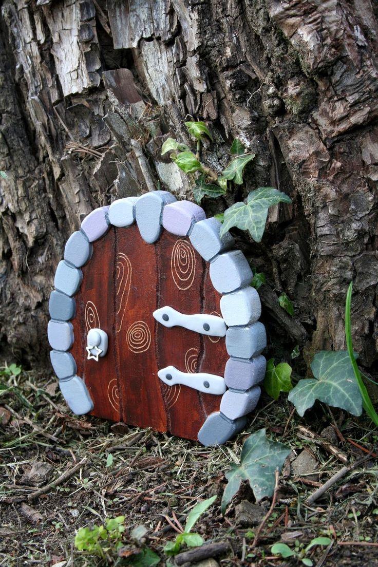 Porte de fée en bois et pâte polymère - fairy door - Imitation pierres - décoration intérieur extérieur : Décoration pour enfants par boisdesoluthe