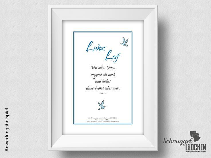 Taufbild Taufspruch – blaue Taube von Schnuggellaedchen auf DaWanda.com