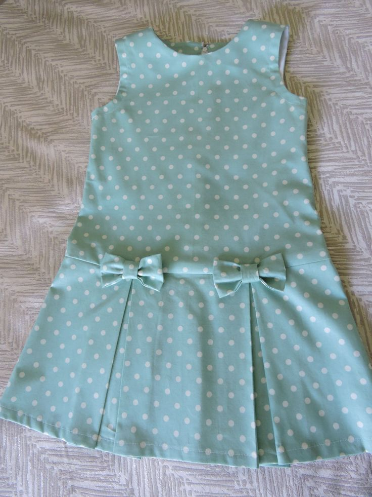 Girls retro style dress in turquoise spot cotton with pleated skirt. by VSLFashions on Etsy