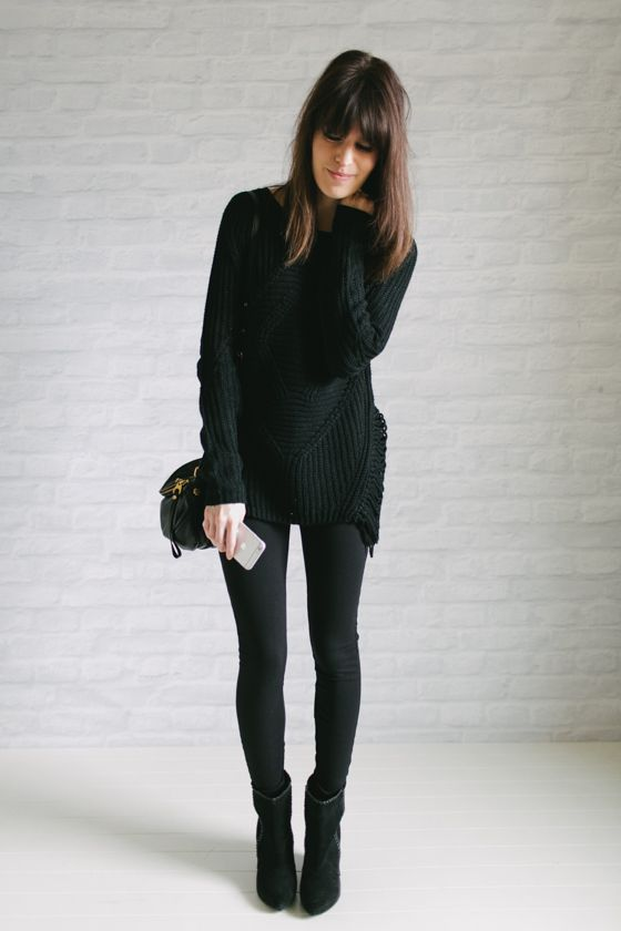 black pullover sweater - black leggings - black ankle boots - black crossbody bag | un-fancy.com