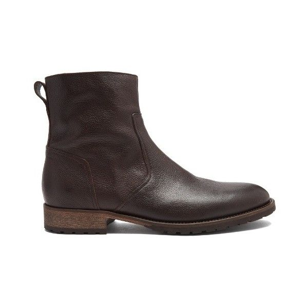 Belstaff Attwell pebbled-leather ankle boots (6.154.140 VND) ❤ liked on Polyvore featuring men's fashion, men's shoes, men's boots, brown, shoes, mens brown biker boots, mens side zip boots, mens side zipper boots, mens brown motorcycle boots and mens round toe cowboy boots