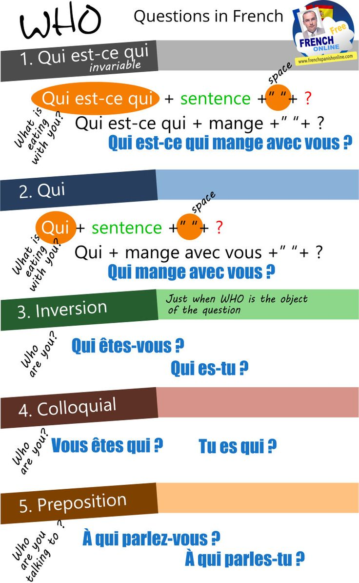 WHO  in French: http://www.frenchspanishonline.com/magazine/4-ways-to-ask-who-in-french/
