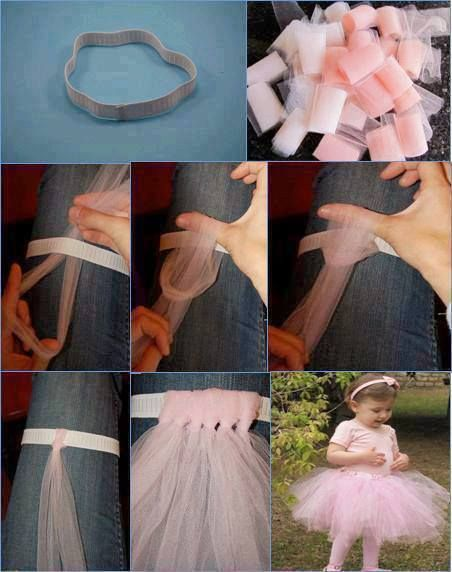 no sew DIY tulle tutu. so cute and versatile! this could be adapted to something small like a scrunchy hairpiece or even an adult halloween costume--though nothing is quite as adorable as a little girl running around the house as a ballerina ;)