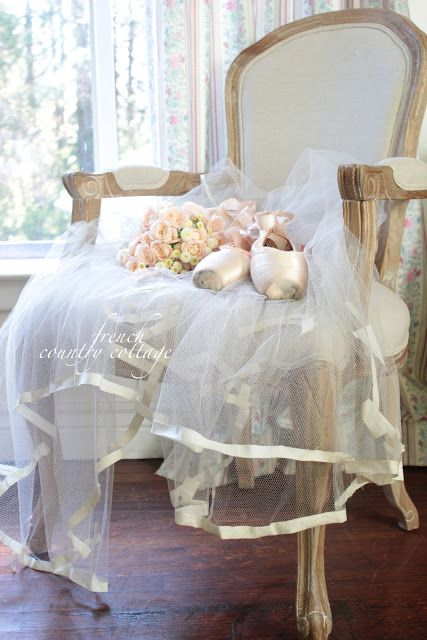 French Country Cottage ~ Pretty netting trimmed in satin ribbon~❥