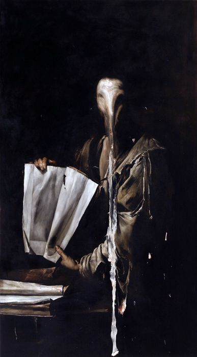 """Nicola Samori (b. 1977). Neo-Baroque? Nicola works out of Italy, and he's managed to nail the style of the Old Masters, all painted now, in the modern era, in his studio. See, once he's finished with a painting, or once he's adapted one that's been previously created, he takes a scalpel to it, a spatula, or a square of sandpaper, and begins to peel it apart.  Sometimes the """"destruction"""" of the images asks the audience to think about what, exactly, the painting communicates when it's whole."""