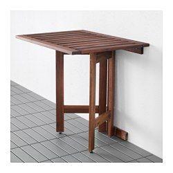 IKEA - ÄPPLARÖ, Wandklapptisch/außen, Steht dank höhenverstellbarer Fußkappen auch auf unebenen Böden stabil.Zur Erhöhung der Haltbarkeit und damit die natürliche Holzstruktur sichtbar bleibt, wurde das Möbelstück mit mehreren Schichten halbtransparenter Holzlasur vorbehandelt.