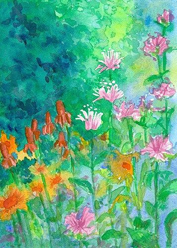 Wildflowers Summer Garden Original Watercolor Painting by countrygarden on Etsy