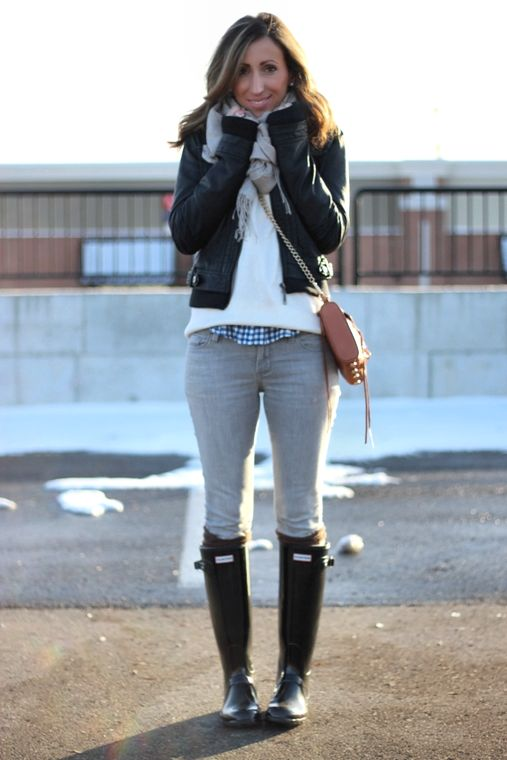 Grey Skinnies White Sweater Blue Gingham Gray Scarf