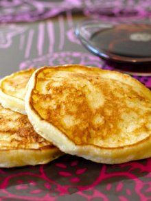 Cottage Cheese Pancakes: Need 3 eggs, 1 cup cottage cheese, 1 t vanilla, 2 T honey, 1/2 cup flour, 1 t baking powder, 1/4 t salt, oil spray