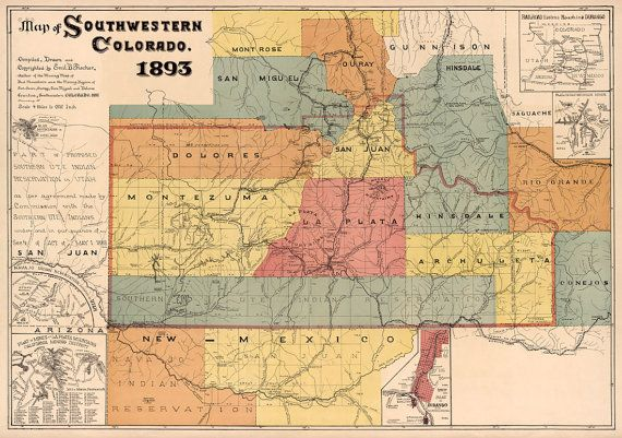 Map of Colorado Southwestern Colorado map Fine print