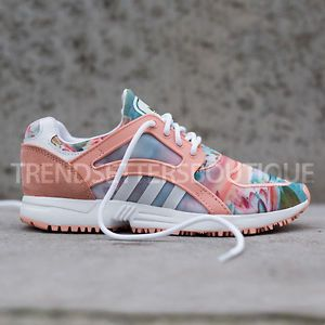 ADIDAS-RACER-LITE-US-4-5-6-5-7-8-8-5-PINK-WOMENS-FLORAL-PALM-TREE-SUNSET-roshe