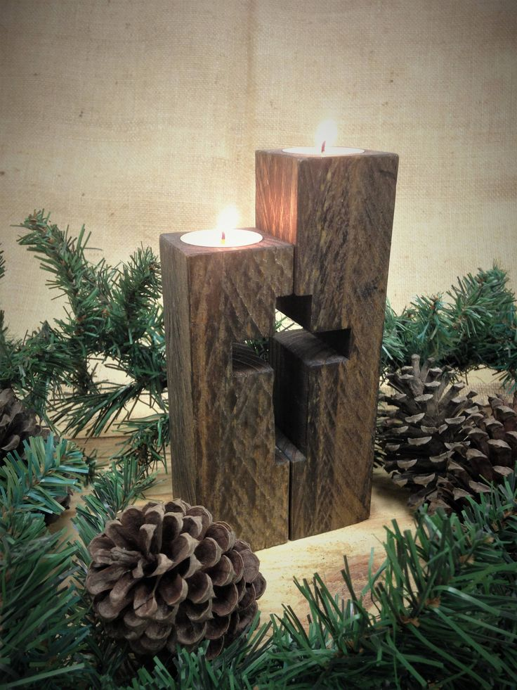 Rustic Cross Candle Holders, Linked, Wedding Gift, Unity Candle, Anniversary, Birthdays, Housewarming, Christian, Faith, Mother's Day