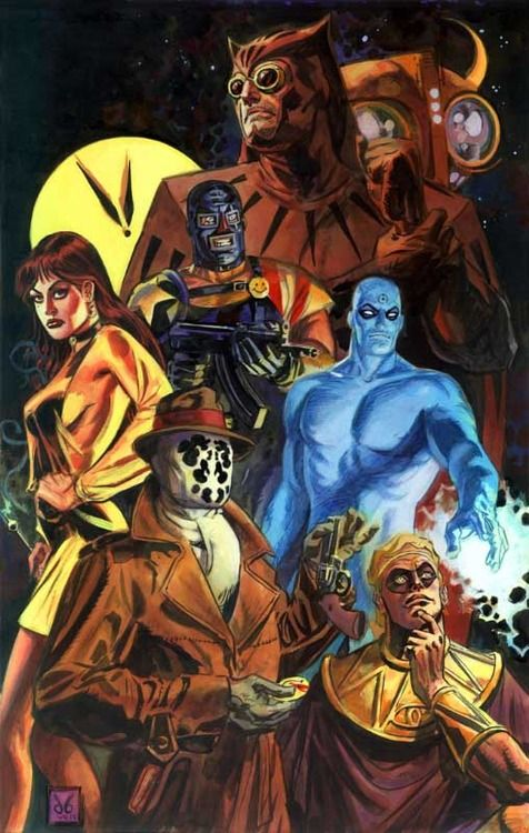 "Watchmen by Dan Brereton. Now widely regarded as a major work of postmodern literature. Ian Thomson stated that the heroes in Watchmen almost all share a nihilistic outlook. He wrote that the story ""develops its heroes precisely in order to ask us if we would not in fact be better off without heroes""."