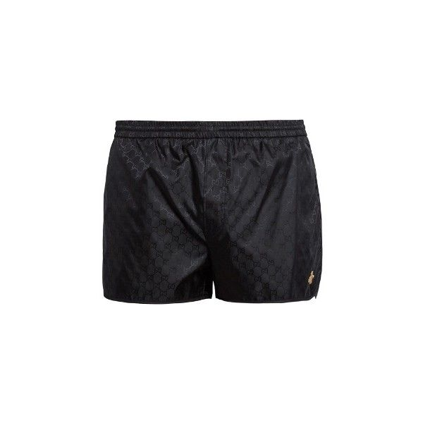 Gucci GG-jacquard swim shorts ($390) ❤ liked on Polyvore featuring men's fashion, men's clothing, men's swimwear, navy, gucci mens swimwear, gucci mens clothing and slim fit mens clothing