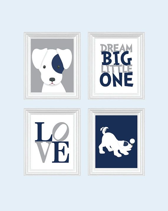 Dog Nursery Art Baby Boy Puppy Prints Blue Decor Playroom Rules Quote Kids Wall Boys Room