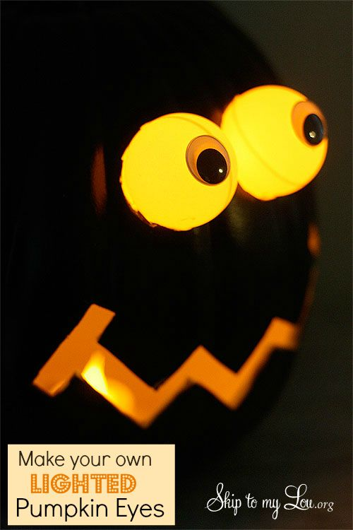 DIY Lighted Eyes!  Have the best pumpkins on your street with this tutorial. www.skiptomylou.org
