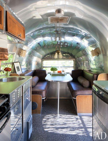 Patrick Dempsey Malibu house by Frank Gehry/ AirStream hide-away in garden--interior (AD)