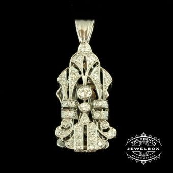 Amazing Deco Diamond Dress Clip A classic Art Deco creation, set in 18ct white gold with 0.68cts of transitional & single cut diamonds, can be worn as a dress clip or turned into a pendant.  https://thefrenchjewelbox.com.au/necklaces-pendants/amazing-deco-diamond-dress-clip.html