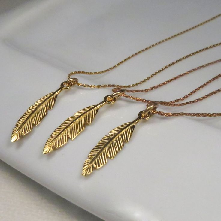 Set of 3 feather necklace for 3 Best Friends, 3 Sisters or bridesmaids