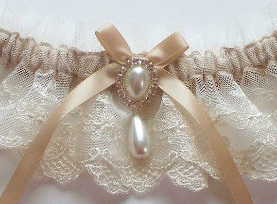 Wedding Garter in Ivory Lace on Champagne Band with Pearl and Crystal Detail - The MEREDITH Garter on Etsy, $28.50